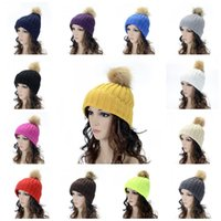 Wholesale hat crochet lined resale online - Plain Winter Knitted Hat Keep Warm Women Beanie Curling Crochet With Pompon Wool Line Cap For Party bd B