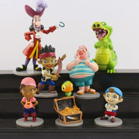 Wholesale Jake Neverland Set Figures - Top Quality 7pcs set Anime Cartoon Jake and The Neverland Pirates PVC Action Figure Toys Free Shipping