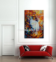 Wholesale Dancing Pictured Canvas - Palette Knife Painting Soul Dance Ballet Girl White Swan Series Picture Art Printed On Canvas For Home Office Hotel Wall Decor