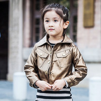 Wholesale Wholesale Leather Jackets Pu - Good quality Gold And Silver Girls PU Leather Coat 2016 New Autumn Outerwear Winter Jacket For Kids Children Brand new Chlothes