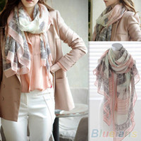 Wholesale Eiffel Tower Shawl - Voile Soft Long Scarf Women Eiffel Tower Printed Wrap Shawl Stole Scarves 1T1O