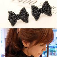 Wholesale Western Jewelry For Women Wholesale - Western Fashion Elegant charm Metal Simple Black Butterfly Bow Stud Earrings for Women Jewelry