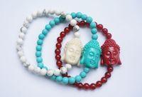 Wholesale Turquoise Bracelet Stretchy - 6Pcs Turquoise Bracelets Buddha Bracelet Turquoise Stone Round Beads Stretchy Prayer Mala Bracelet Mixed Colors
