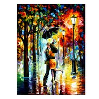 Wholesale Decorative Knives - HOT Sale Dance Under The Rain-PALETTE KNIFE Figure By Artists Home Decorative Art Picture Printed On Canvas