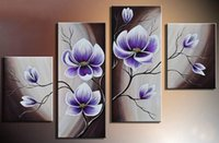 Wholesale Modern Oil Painting Green - Hand-painted Hi-Q modern wall art home decorative purple flower oil painting on canvas Bright green Phalaenopsis on water 4pcs set,HH025