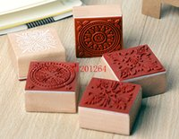 Wholesale New Lace Round Stamp - Free Shipping 600pcs lot 2015 New 4x4CM sweet lace series wood round stamp square shape gift stamp