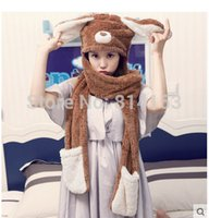 Wholesale woman cute winter scarfs - Wholesale-2015 Free Shipping Women Girls Fashion Popular Cute Animal Soft Plush Winter Conjoined Scarf Hat