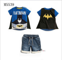 Wholesale Wholesale Boys Pocket T Shirts - 2016 Summer New Baby Boys Cartoon Batman Short Sleeve T-shirt+Denim Shorts 2pcs Sets Kids Outfits Children Clothing Fashion Child Suit 2-7T