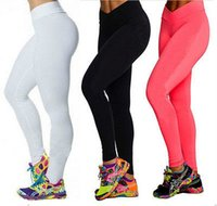 Wholesale Yogo Pants - 2015 High Waist Candy Colours Solid Leggings Women's Sports Pants Fashion Elastic Strtched Yogo Fitness Gym Leggings