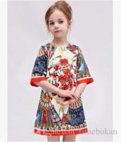d600c517c2ee Bambini al minuto Una linea di moda Fiore etnico Neonate Principessa  Chiffon Mezza manica Abiti pieghettati Abbigliamento per bambini  all ingrosso 2-6T