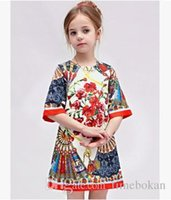 Wholesale Girls Ethnic Dresses - Retail Kids A Line Fashion Ethnic Flower Baby Girls Princess Chiffon Half sleeve Pleated Dresses Wholesale Kids Clothes 2-6T