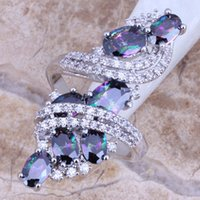 Wholesale Mystic Topaz Rings For Women - Wholesale-Shiny Rainbow Mystic White Topaz 925 Sterling Silver Overlay Ring For Women Size 5   6   7   8   9   10   11   12 S0218