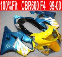 Wholesale honda repair parts - Simple blue yellow body repair parts for Honda fairing CBR600 F4 99 00 CBR 600 F4 1999 2000 fairings kit CENP
