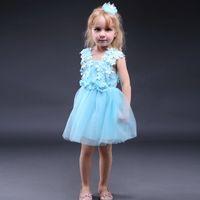Wholesale retail wedding dress for sale - Group buy Pettigirl Retail Newest Baby Blue Kids Flower Girl Lace Dresses Princess Wedding Girls Dress Summer Children Clothing GD80905