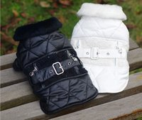 Wholesale Black White Dog coat with Belt Buckle Pet Puppy Jacket Hoodies Clothes sizes available