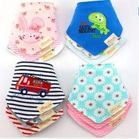 Wholesale Children Scarfs Triangle - 45 beautiful pattern cotton baby towel newborn child triangle scarf Babero girls beat infant feeding Bibs Burp cloths