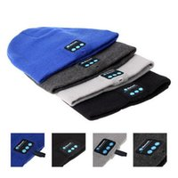 Wholesale Iphone Wireless Music Receiver - Bluetooth Music Knitted Hat Soft Warm Wireless Speaker Receiver Outdoor Sports Smart Cap Headset Headphone For iphone 6s Samsung DHL OTH145