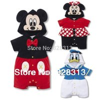 Wholesale Donald Duck Rompers - Wholesale-vestidos Christmas Baby Clothes Boys Girls Romper free Shipping 1pcs lot Mickey Minnie Donald Duck Cartoon Short Sleeve Rompers