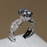 Wholesale Dinosaur Plates - Dinosaur Claw Victoria Wieck Vintage Jewelry 14KT White gold filled tiny topaz Women Wedding Engagement Band Silver Ring for Women Size 5-11