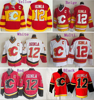Wholesale Flame Logo - Factory Outlet, 2015 Calgary Flames Hockey Jerseys #12 Jarome Iginla Jersey Home Red White Best Quality Cheap Embroidery Logos All Stitched