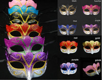 Wholesale Wholesale Carnival Party - Party masks Venetian masquerade Mask Halloween Mask Sexy Carnival Dance Mask cosplay fancy wedding gift mix color