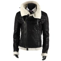 Faux Leather black fur collar biker jacket - FG1509 New Winter Black Thicken Pu Leather Jaceket Fashion Design Fur Large Turn down Collar Winterbreak Motocycle Biker Jacket