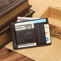 Wholesale Mens Leather Business Card Case - 2015 Fashion Upscale Mens Fashion Business credit Card Case Genuine Leather Solid Pattern Wallet Cards Holder For Mmen Black Brown Colors Fr