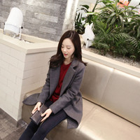 Wholesale Slim Winter Women Wool Coat - Autumn winter Slim women Coats Long sleeve Lapel Neck Mori girl Women Wool Black and Gray colors