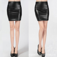 Wholesale Plus Size Leather Pencil Skirt - East Knitting 2015 Q001 Fashion Women PU Faux Leather Skirt High Waist Bodycon Pencil Skirts Plus Size