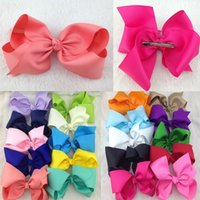 Wholesale Alligator Clips For Babies - 5pcs lot 8inch big Boutique Ribbon Hair Bows For Baby girls Hair Bows WITH alligator hair clip for children hair accessories