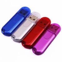Wholesale Pendrives 16gb - 100PCS 16GB Memory Flash Drive Thumb Stick USB Key True Storage Pendrives Blue   Silver  Red  Purple