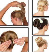 Wholesale Rhinestone Hair Bun - Hot Selling Fashion Hair Tools Elegant Magic Style Buns Hair Rope 3 Colors Hairband Hair Accessories (1pack=1pc small+1pc large)