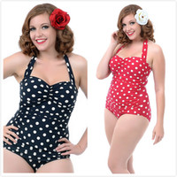 Wholesale Plump Plus Size - Plus Size S-XXXL Swimwear Women 2015 Vintage Polka Dot One Piece Swimsuit Sexy Bra Push Up Fat Swimsuit Dress Plump Bodysuit Bathing Suit
