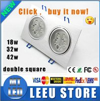 Wholesale Double Spotlights - newest sale High power double square Led ceiling light 18W 30W 42W 110-240V LED spot indoor lighting led light downlight spotlight