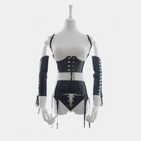 Wholesale Tight Leather Bondage - Faux Leather Latex Sexy Costumes Adult Erotic Night Wear Women Ladies Sex Lingeries Fetish Bondage Tights Adult Games Dress Sex Clothing