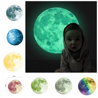 Wholesale Planets Decals - 30cm Planet Wall Decals Luminous Wall Stickers Glow In The Darkness Earth Decals For Kids Rooms Wall Decoration sticker KKA3467