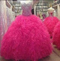 quente rosa vestidos quinceanera ruffled venda por atacado-2015 Vestidos De 15 Anos Vestidos Quinceanera Hot Pink vestido de Baile De Cristal Em Cascata Babados Ruffle Lace Up Prom Evening Vestidos Doce 16 Vestido
