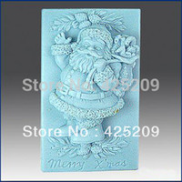 Wholesale Silica Gel Mould - Free shipping christmas santa claus Handmade soap silicone mold, soap molds molds,silica gel mould,silicon tools wholesale