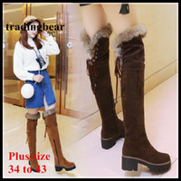 Wholesale Rabbit Fur Tanning - Adorable ViVi Lena Thicken Rabbit Fur Boots Chunky Heel Over The Knee Boots Women Winter Shoes Plus Size 34 to 40 41 42 43