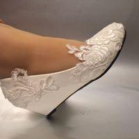 Wholesale White Bridal Wedge Heels - White light ivory lace Wedding shoes flat low high heel wedges bridal size 5-12