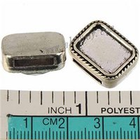 Wholesale Wholesale Rectangle Cameo Settings - DIY Beads For Cord Wide Leather Bracelets Silver Tone Rectangle 11mm Flat Hole Can Set Cameo Cabochon Metal Jewelry Findings 18*14*6mm 50pcs