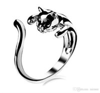 Wholesale Popular Wedding Bands For Men - Popular Stainless Steel Cat Ring Crystals Kitten Free Size For Women Men Hot Sale Factory Price Fashion Top Quality 18K Gold Plated