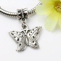 Wholesale European Butterfly Dangles - Dots Anartia fatima Butterfly Charm Big Hole Beads 100pcs lot 15x30mm Tibetan Silver Dangle Fit European Bracelets Jewelry DIY B1122