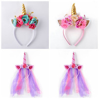 Wholesale Spiral Headbands - Rainbow Unicorn Rabbit Ear Headband Spiral Unicorn Horn Infant Sequins Hair Bands Cosplay Party Costume Headwear 120pcs OOA3400