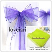 "Wholesale Organza Chair Sashes Lavender - Free shipping-Wholesale-25pcs Lavender 8"" (20cm) W x 108"" (275cm) L Sheer Organza Sashes Wedding Party Banquet Chair Organza Sash Bow"