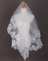 Wholesale Cheapest White Short Dress - 2016 new Cheapest lace wedding dresses veil white ivory veils Elbow Length short Bridals Veil for bride