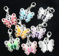 Wholesale Memory Lockets Plates - 7colors Enamel Butterfly Rhinestone Charms 56pcs lot 22x35 mm Heart Floating Lobster Clasps Charm for Glass Living Memory Locket C1559