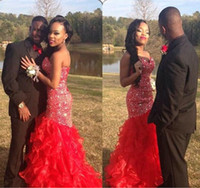 Wholesale Charm Sequin Fabric - Charming Red 2015 Evening Dresses Formal Crystal Mermaid Prom Gowns Pageant Dress With Sweetheart Neck Organza Fabric Plus Size Custom Made