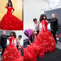 Wholesale Performance Images - 2018 Red Long Sleeves Flouncing Ruffles Skirt Mermaid Prom Gowns Gorgeous African Evening Dress Formal Performance Outfit