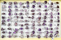 Wholesale Amethyst Gemstone Jewelry - Jewelry 50Pcs Lots Fashion Unisex Amethyst gemstone Silver Plated Ring New[R0231*50]